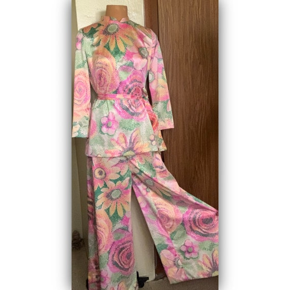 60's psychedelic 2piece Palazzo floral print Size