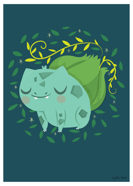 Bulbasaur Art Postcard Print Pokemon Art Pokemon Go Etsy