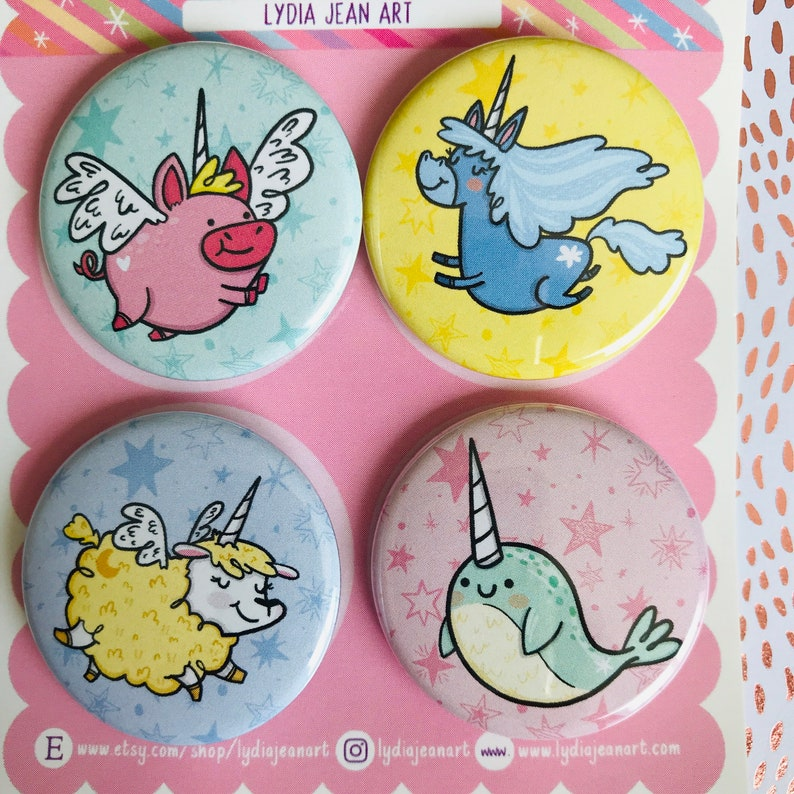 Unicorn Gift Fluffy Alpaca Magical Animal Magnet or Pin Set Unicorn Flying Pig Narwhal Narwhal gift