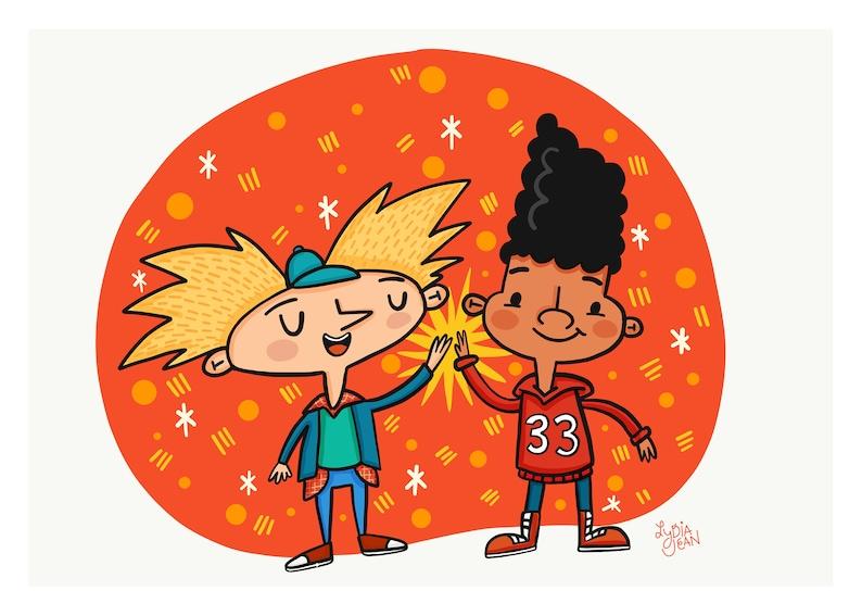 Hey Arnold Cartoon Wall Art Print or Postcard Print image 0
