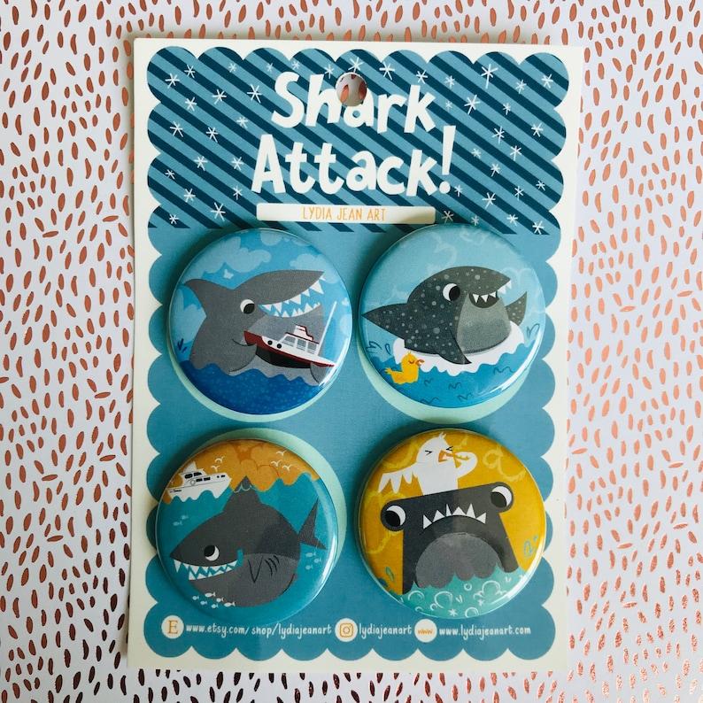 Cute Shark pin or shark magnet sets  gift for shark lovers  image 0