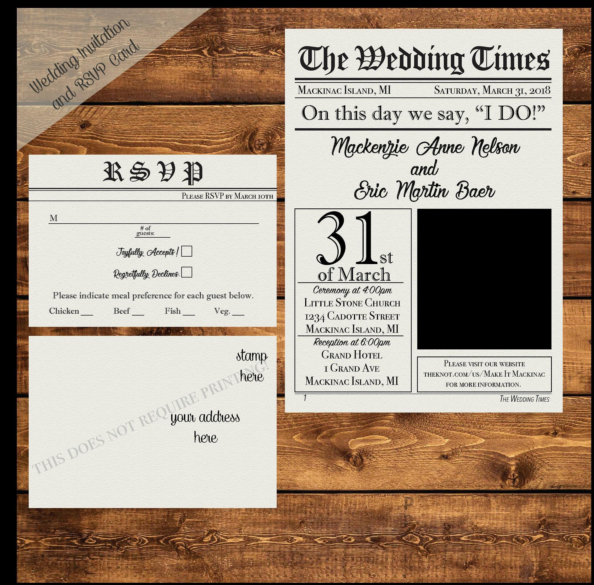 NEWSPAPER WEDDING INVITATION Printable Personalized