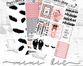 Kristina Mini Kit-- ECLP Vertical Kit, Decorative Stickers, Planner Stickers, Pink/Fashion/Glam Kit