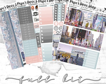 Andrea Full Kit-- ECLP Vertical, Decorative Stickers, Planner Stickers, NYC Kit