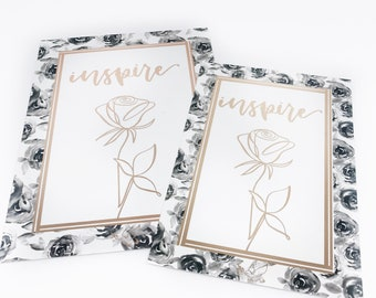 LIMITED: Foiled Postcard Duo-- Rose Gold Foiled Postcards, Postcards, Journaling Cards, Dashboards
