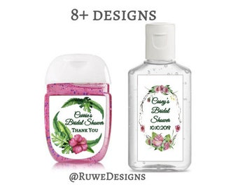 Customized hand sanitizer Labels for Tropical - Summer - Floral themed favors