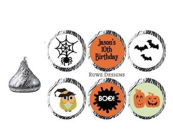Fall-Halloween-themed Custom Kisses Stickers
