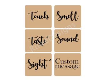 Custom Five senses gift labels/stickers