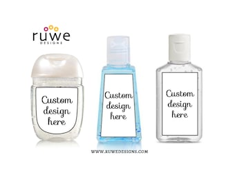 Custom design - hand sanitizer Labels for business or party favors
