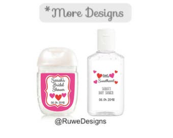 Hearts, Valentine-themed Customized hand sanitizer Labels for Party/Wedding/Baby shower/Bridal shower Favors