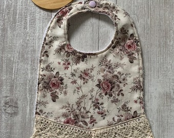 Antique 1940s Hand Embroidered and 50s60s Vintage Cotton Lace Bibs Blue Boy Unisex Bibs Custom Made SET of FOUR