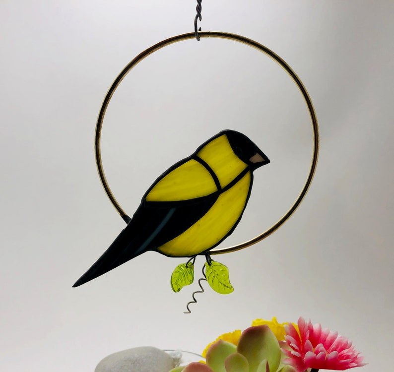 Stained Glass Bird Goldfinch Free US Shipping! Includes  Donation for Bird Conservation