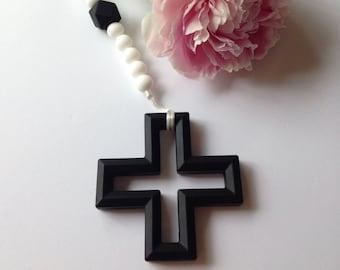 KINGSLEY - Black Swiss Cross Teether - Pacifier Clip, Soother Clip, Teething Clip, Teether, Baby Shower, Teething Toy, Trendy, Luxury