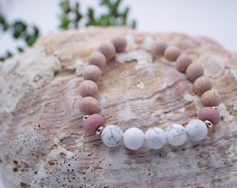 Essential Oil Diffusing Bracelet with White Howlite, Rhodonite, Selenite, and Rosewood Beads- Healing Crystal Jewelry