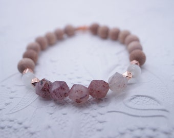 Essential Oil Diffusing Bracelet with Strawberry Quartz, Selenite, and Rosewood with Rose Gold Accents