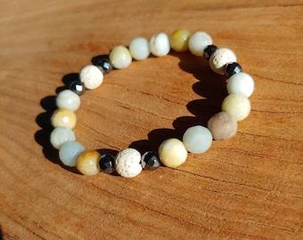 Essential Oil Diffusing Bracelet with Amazonite, Hematite, and Lava Stones