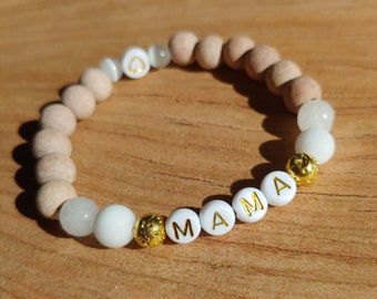 Essential Oil Diffusing Mama Bracelet with Selenite, Jade, and Rosewood Beads