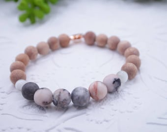Essential Oil Diffusing Bracelet with Pink Zebra Jasper, Selenite, and Rosewood Beads- Healing Crystal Jewelry