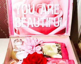 Happy Birthday Care Package Girl Gift Box For The Her Card Custom