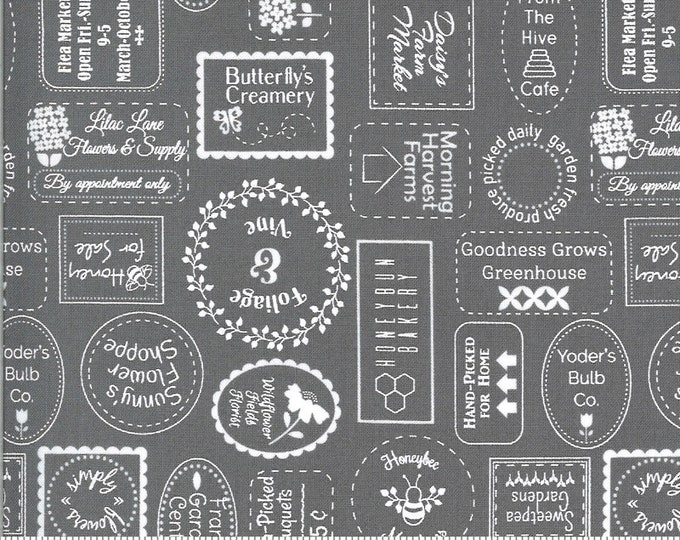 Spring Brook Slate, Spring Brook by Corey Yoder, Moda Fabrics, Gray Text Fabric
