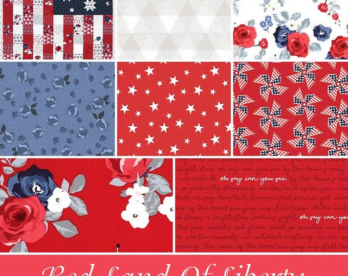 Land of Liberty Red One Yard Bundle with Panel