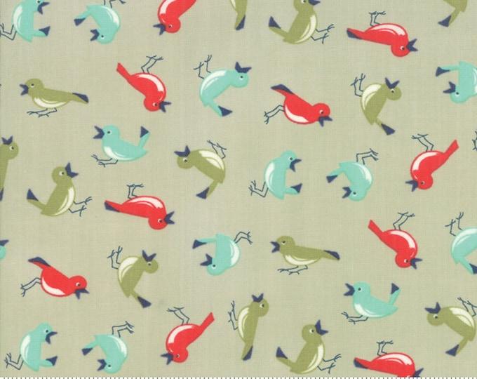 Featured listing image: Early Bird Vintage Bird Gray, Early Bird by Bonnie & Camille, Moda Fabrics, Bird Fabric