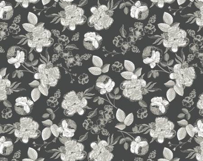 Gingham Gardens Lines Floral Charcoal by My Minds Eye for Riley Blake Designs