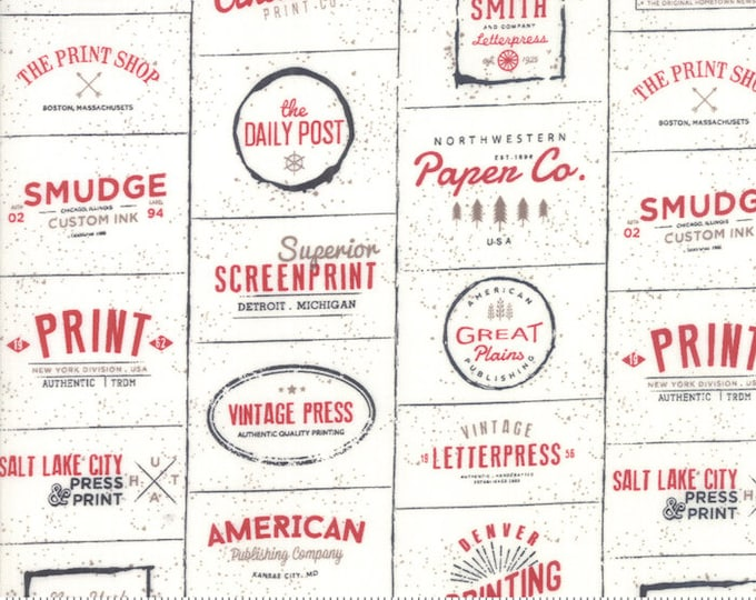 Featured listing image: Sweetwater, The Print Shop, Cream and Red Logos, Sweetwater for Moda, Text Fabric
