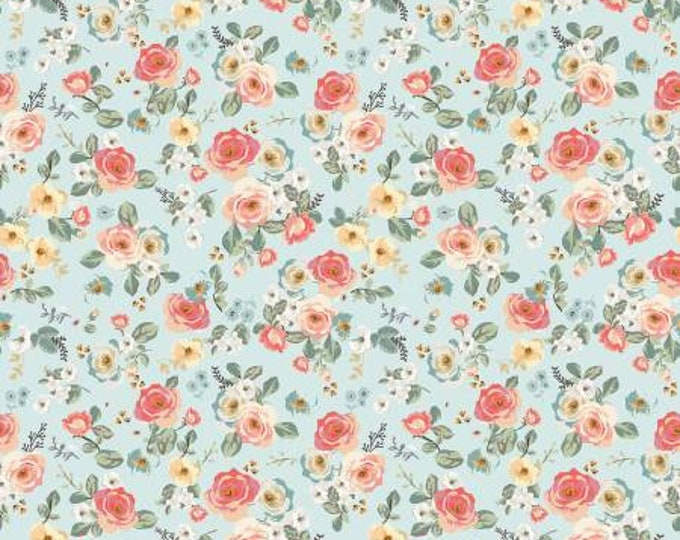 Gingham Garden Floral Aqua, My Minds Eye, Riley Blake Designs, Floral Fabric, Yardage