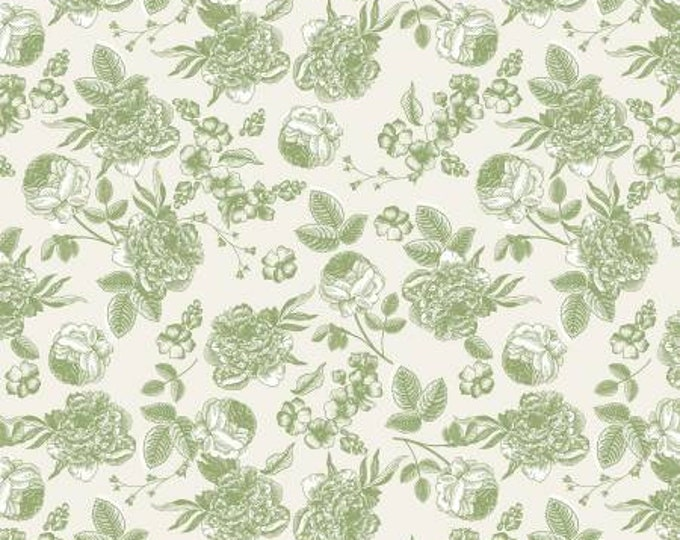 Gingham Gardens Lines Floral Green by My Minds Eye for Riley Blake
