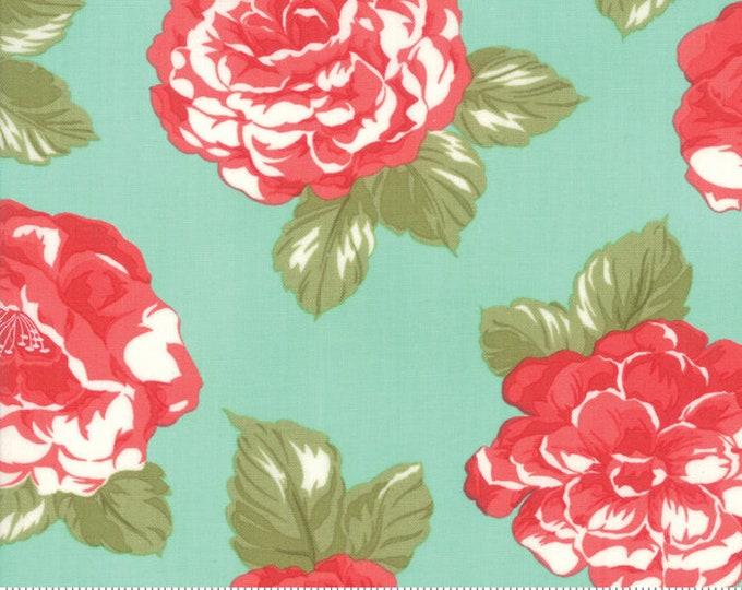 Early Bird Fabric Aqua Blooms, Early Bird by Bonnie & Camille, Moda Fabrics, Floral Fabric