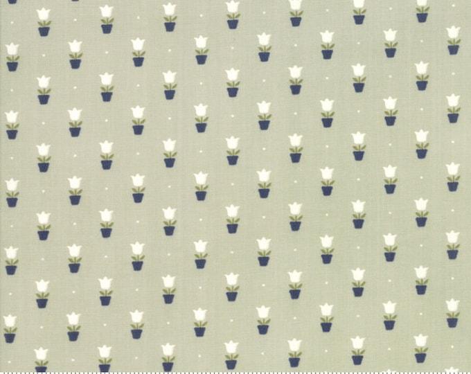 Early Bird Fabric Tulips Gray, Early Bird by Bonnie & Camille, Moda Fabrics, Gray Tulips, Floral Fabric