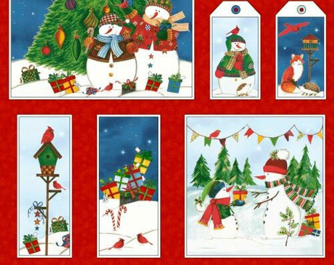 Winter Wishes Panel, Winter Wishes by Whistler Studios, Windham Fabrics, Snowman Panel