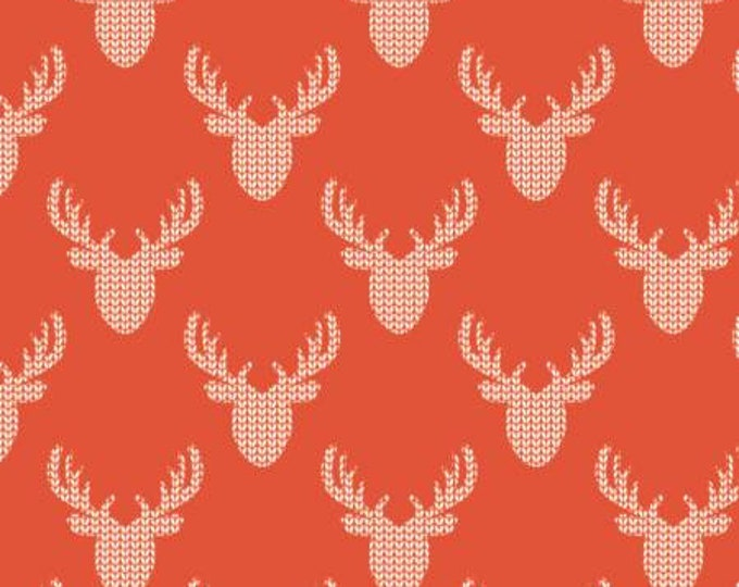 Red Knit Look Deer, Reindeer Lodge, Camelot Fabrics, Holiday Fabric