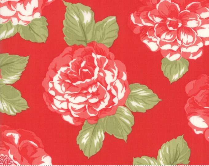 Early Bird Red Blooms, Early Bird by Bonnie & Camille, Moda Fabrics, Floral Fabric