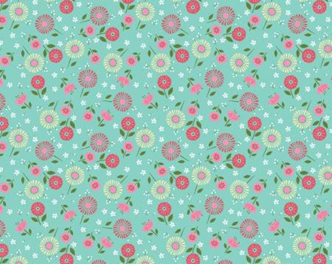Adventure Time Teal Floral Toss by Anne Rowan Collection for Wilmington Prints