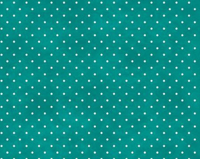 Peacock Blue Classic Dot, Maywood Studios, Beautiful Basics, Turquoise Dot Fabric