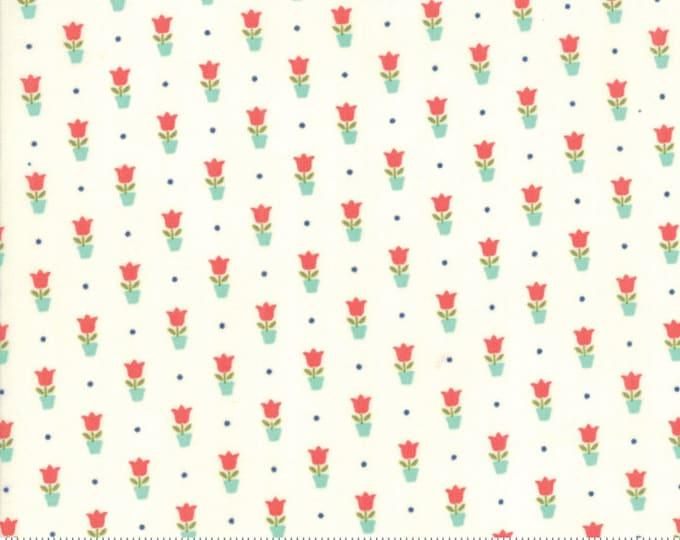 Early Bird Fabric Tulips Cream, Early Bird by Bonnie & Camille, Moda Fabrics, Cream Tulips, Floral Fabric