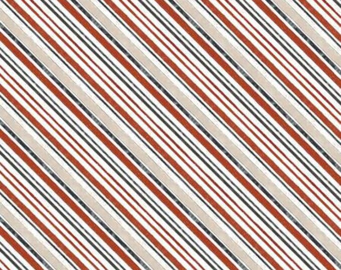Free Range Fresh Fabric Cream Diagonal Stripe by Katie Pertiet