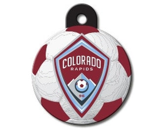 68aff010c12 Colorado Rapids Dog ID Tag for Cat ID and other pets - MLS soccer circle  shaped and personalized engraved   pet id tag    dog tag    cat tag