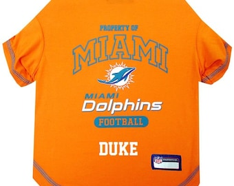 e6d92a43507 Miami Dolphins Dog T-Shirt Personalized SM-XL NFL Pet Clothes // pet  apparel // pet clothing // cat clothes // dog clothes // sports