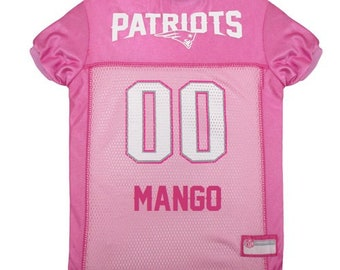 New England Patriots Dog PINK Jersey Personalized M-Lg NFL Pet Clothes    pet  apparel    pet clothing    cat clothes    dog clothes 16f6237db