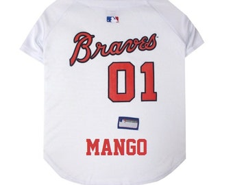 Atlanta Braves Dog Jersey Personalized SM-XXL MLB Pet Clothes    pet apparel     pet clothing    cat clothes    dog clothes    sports fan 906566222