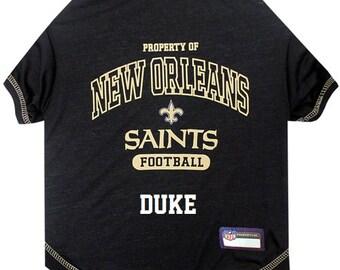 84b7cc891 New Orleans Saints Dog T-Shirt Personalized SM-XL NFL Pet Clothes    pet  apparel    pet clothing    cat clothes    dog clothes    sports