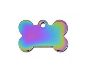 Small Polished Rainbow Bone Shaped Pet id Tag Custom // Dog id tag // Cat id tag