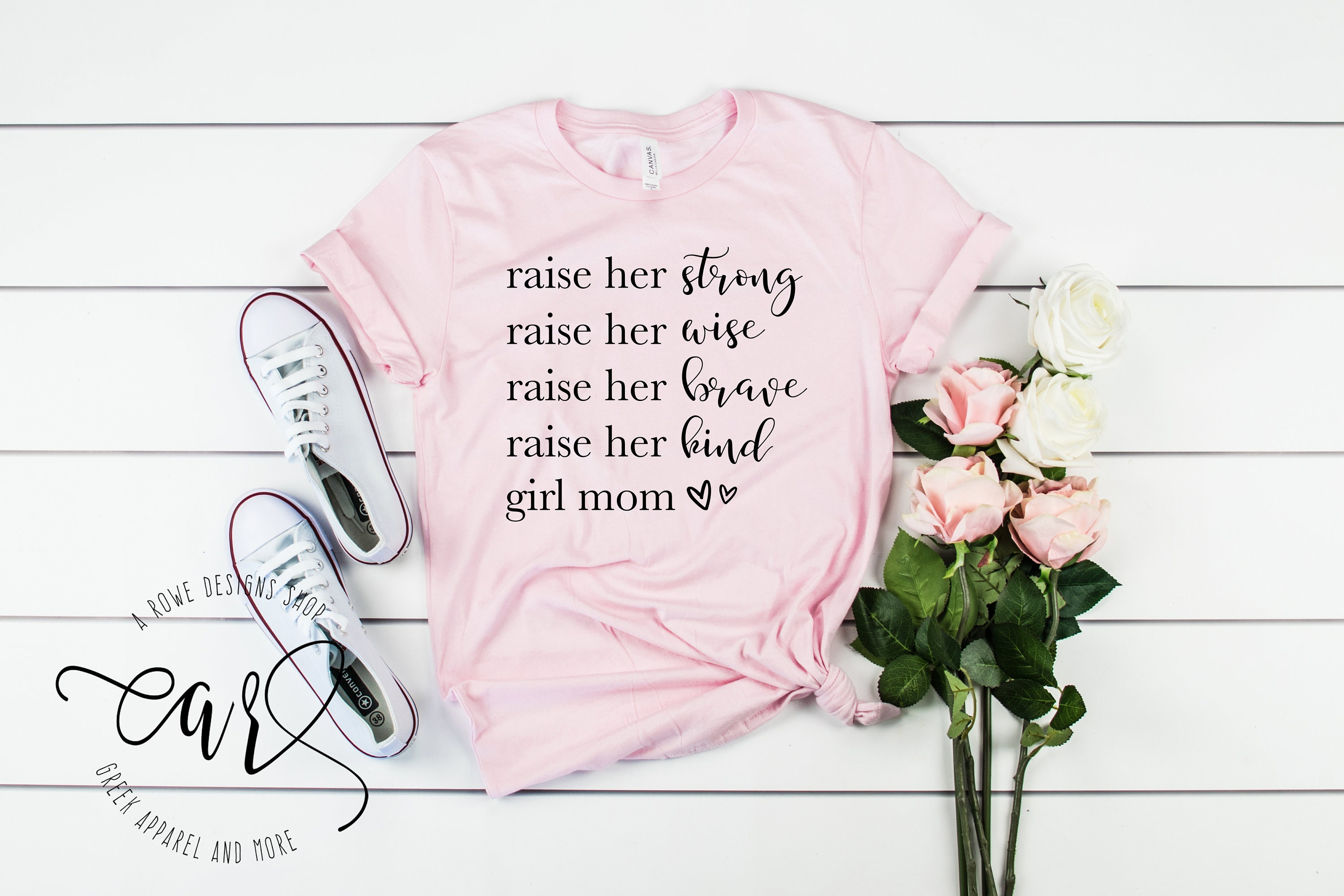 Girl mom tee, Mom of girls tee, Rise her Tees, Raising Girls Tees, Happy  Mom Tees, Mom tee
