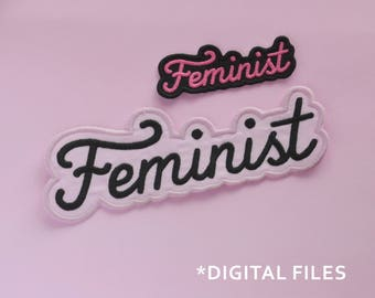 Feminist Patch machine embroidery design. Feminist script font patch machine embroidery files. 2 sizes. Instant download