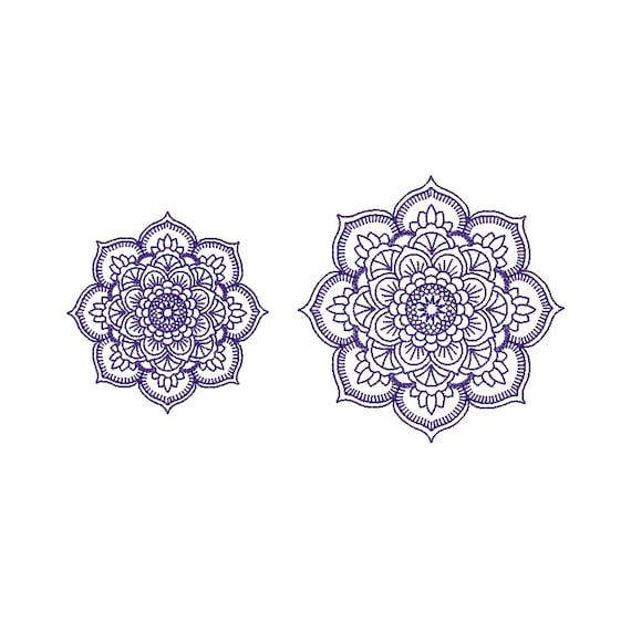 Mandala Matriz de bordado a máquina. 2 tamaños. Descarga | Etsy