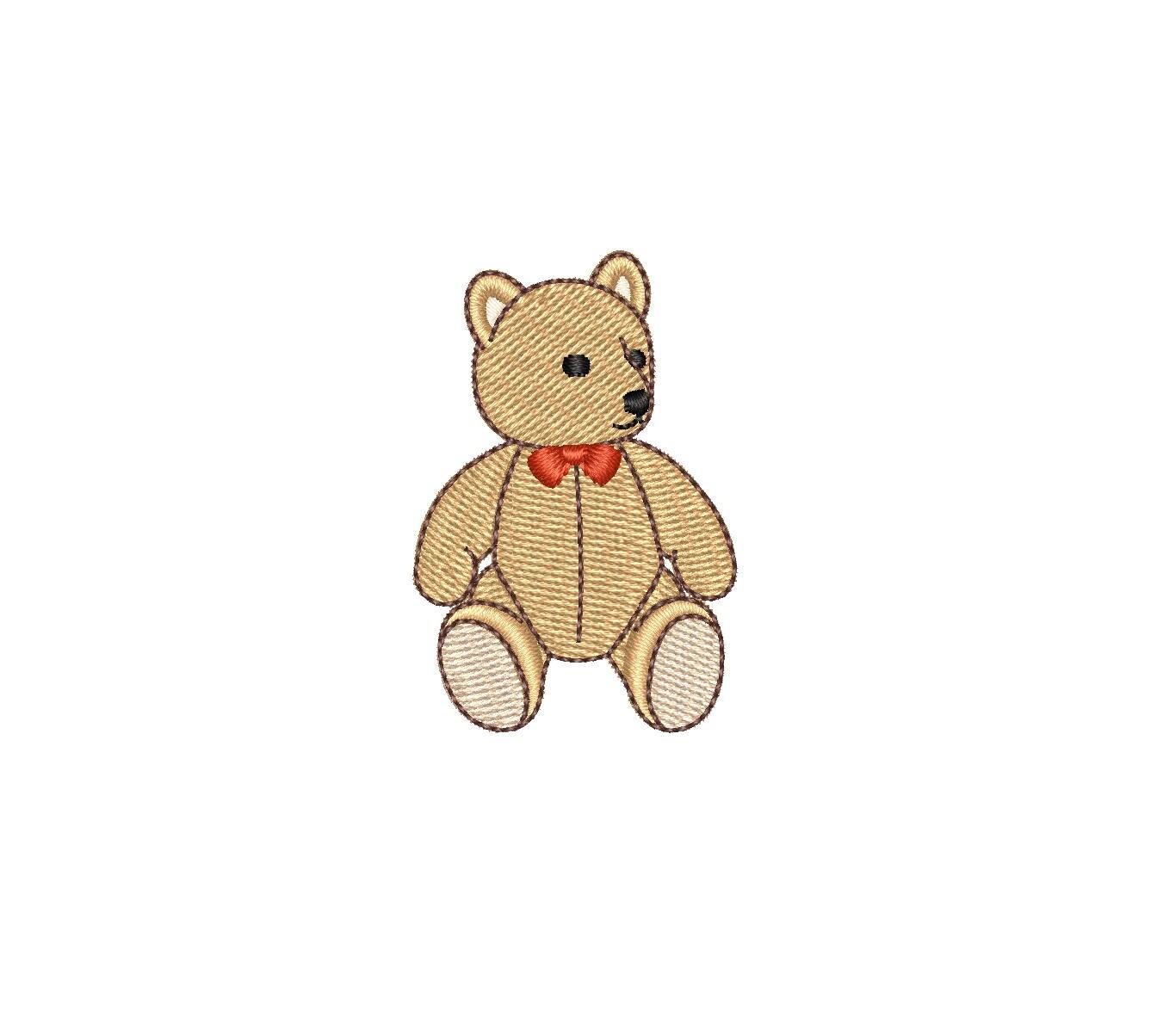 Mini Vintage Teddybär Maschinenstickerei Design.