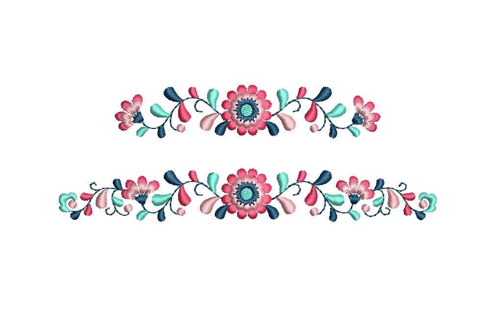 Guarda de flores matriz de bordado. 2 tamaños. Descarga | Etsy